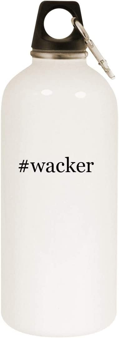 #wacker - 20oz Hashtag Stainless Steel White Water Bottle with Carabiner, White