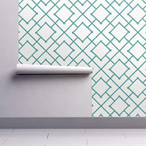 Peel-and-Stick Removable Wallpaper - Teal Bamboo Geometric Bamboo Upholstery Chinoiserie Aqua Teal Blue by Willowlanetextiles - 24in x 108in Woven Textured Peel-and-Stick Removable Wallpaper Roll