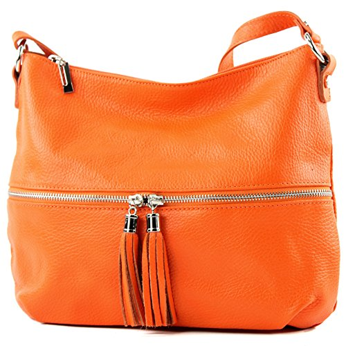 Modamoda De - Ital.   Sac cuir sac bandoulière sac bandoulière cuir sac T159 orange