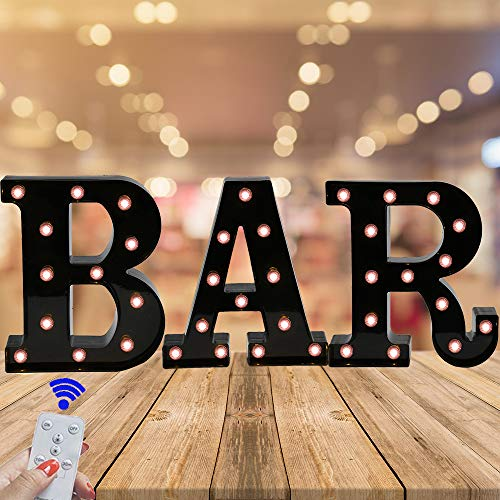Light up BAR Sign, LED Marquee Letters Night Light,LED Remote Control - Lighted Vintage Lit Pub Accessories & Decorations -
