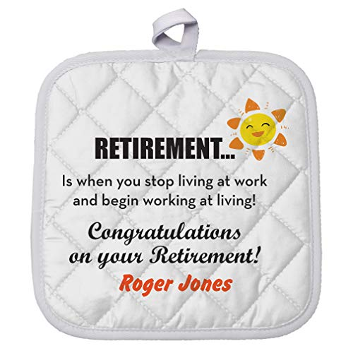 Personalized Custom Text Retirement Polyester Pot Holder Trivets