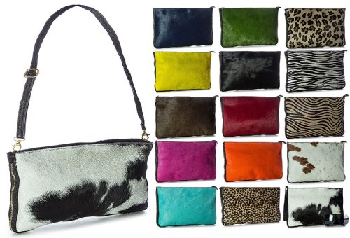 Big Fur Zip Genuine Pony Shoulder 5 with Handbag Calf Large Clutch Bag Leather Shop Design pqFpnUrw