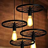 PROMO LINSGROUP Wagon Wheel Chandelier Vintage Industrial Metal Retro Rustic Ceiling Hanging Pendant Lights for Loft Kitchen Dining Living Space Office Restaurant Bar Cafe Lighting in Painted Finish