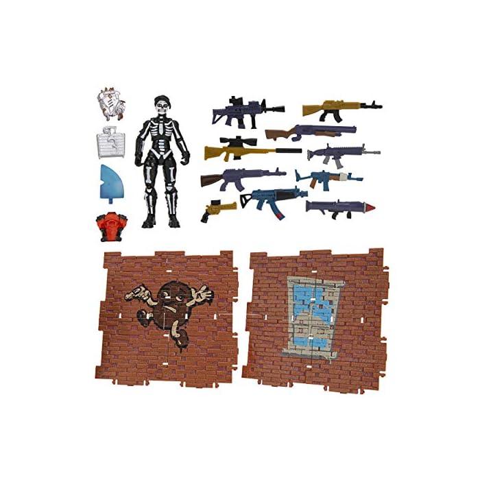 """516GTglTDZL Mide 35,5 cm de alto e incluye 23 piezas, además de su relleno con una figura de 1 (4""""), 10 armas, 4 soplado de espalda, 8 materiales de construcción exclusivos. Echa un vistazo de varias maneras como abrir rápidamente tu lama de pinatas o colgar y romper abiertas para ver tu figura, accesorios y confeti se caerán. No diseñado para ser utilizado como un piñata real. 8 materiales de construcción de piedra crean 2 pulverizadores exclusivos de graffitis. Colecciona y conecta materiales de construcción para crear estructuras o utilizar materiales de construcción de madera individualmente como soportes de figuras de 10 cm."""