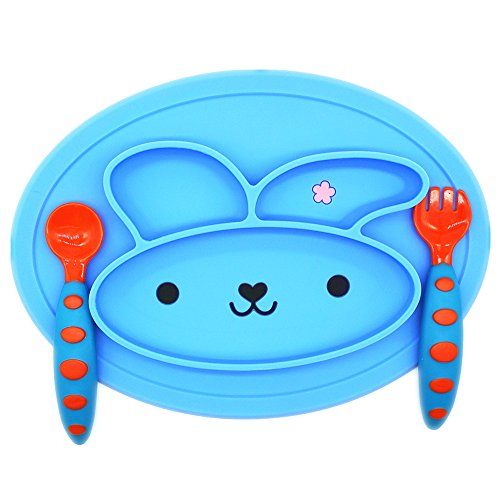 Ielva Baby Silicone Placemat Table Place Mat for Babies, Infants, Toddlers, Kids + 1 set Baby Fork and Spoon Set Training Flatware,BPA Free,Early Education Self-Feeding Tableware Accessories (blue)