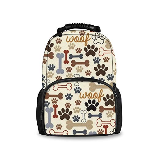 SWEET TANG Dog Bones Paw Prints Cream Printed Children Large Felt Backpack 3D Dolphin School ()