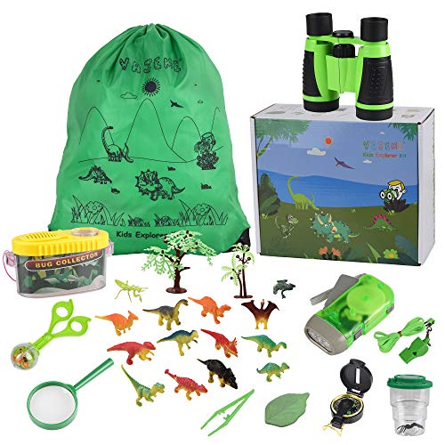 Outdoor Explorer Kit for Kids, Adventure Exploration Toys, Bug Catching Set of 29,Binoculars,Magnifying Glass, Whistle, Butterfly Net, Bug Viewer for Backyard Camping Hiking ()