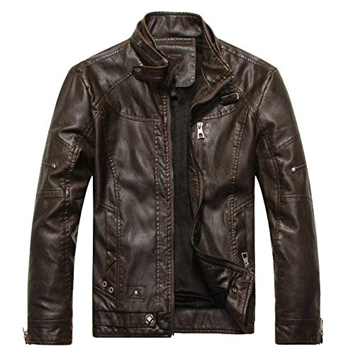 Arrive Motorcycle Leather Jacket Men Men's Leather Jackets Jaqueta Mens Leather Coats,Brown 8822,L