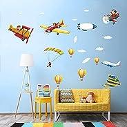 FEICHANG Adesivos de parede de avião em aquarela com desenho animado de piloto para crianças, pôsteres de pare