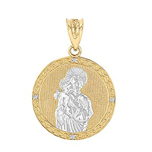 14k Two-Tone Gold Diamond-Studded Saint Joseph Round Medal Pendant (1.15
