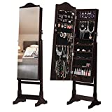 LANGRIA Full-Length Lockable Standing Jewelry Cabinet Armoire and Storage Organizer with Extra Wide Mirror LED lights 2 Drawers for Rings Earrings Bracelets Cosmetics (16.1 x 14.2 x 61.8 inch, Brown)