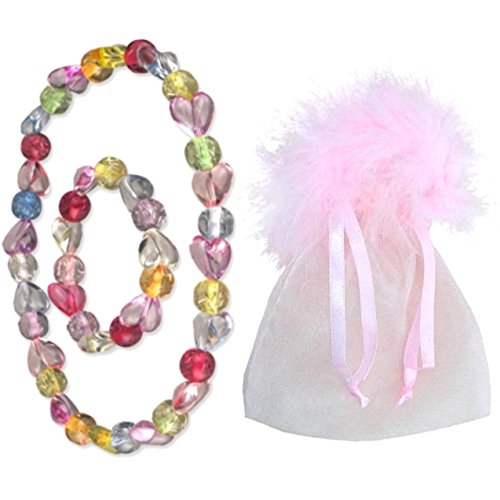 Girl's Marabou Mini Gift Stuffers - Stocking Stuffers, Easter Basket Stuffers, Valentine's Day Gifts or Add with a Gift Card. The Perfect Mini Gift! (Hearts All Around Necklace & Bracelet)