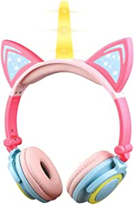 KEYMAO Unicorn Kids Headphones, Over Ear with LED Glowing Cat Ears,Safe Wired Kids Headsets 85dB Volume Limited, Food Grade Silicone, 3.5mm Aux Jack,Cat-Inspired Headphones for Girls