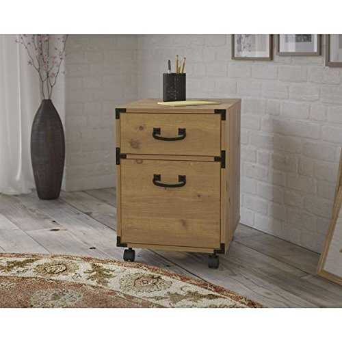 Mobile Pedestal / File Cabinet Vintage Golden Pine Office Elegant 2-Drawer - KI50102-03 with Flexible Storage Solutions. (50.5x20x19.8) Assembly Required