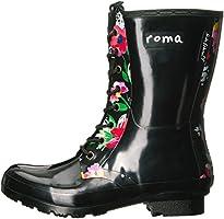 de5bf1fdc Roma Women's EPAGA Short Lace-up Rain Boots,Black Floral: Amazon.com ...