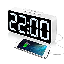 iCKER Digital Alarm Clock with USB Charger, Large Display LED Clock with Dimmer for Bedroom, Auto Time Set, Battery Backup, Snooze Function, Outlet Powered(White)