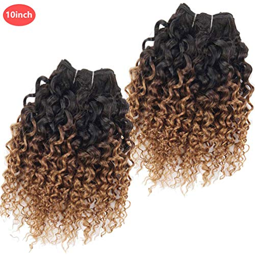 "Emmet Short Kinky Curly Hair Extension 100% Brazilian Human Hair Weave 50g/Bundle 100g/Pack, with Hair Care Ebook (10"", 1B#/30#) from OROPY"