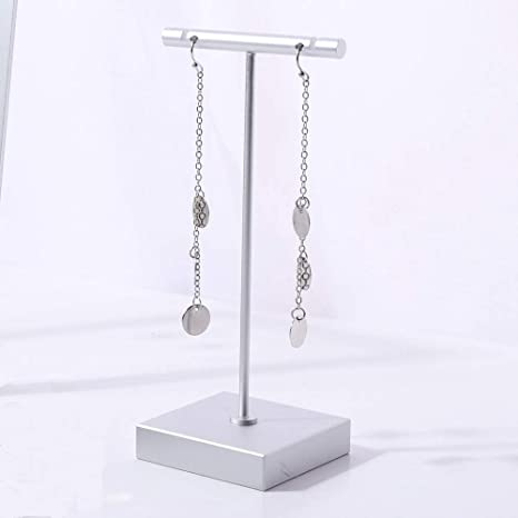 2Pcs Acrylic Earrings Necklace Jewelry Display Rack T Bar Stand Holder Organizer