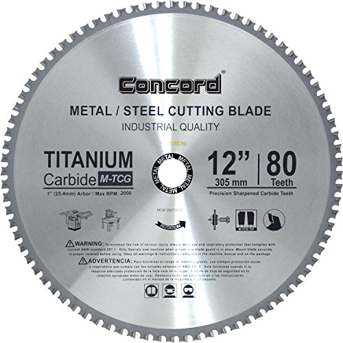 - Concord Blades MCB1200T080HP 12-Inch 80 Teeth TCT Ferrous Metal Cutting Blade