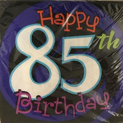 Happy 85th Birthday Party Napkins 16 Count, 3PLY