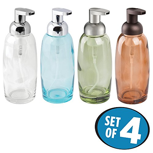 mDesign Glass Foaming Soap Pump for Bathroom Vanity Countertops - Set of 4, Aqua/Clear/Green/Sand (Soap Classic Dish Clear)