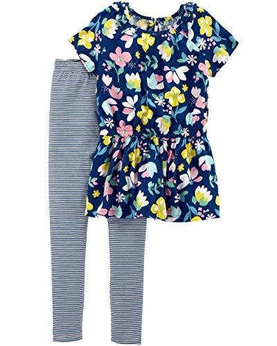 Floral Set Cotton Legging (Carter's Girls' 2-Piece Top & Legging Set (4/5, Floral Top/Striped Legging))