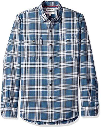 Goodthreads Men's Slim-Fit Long-Sleeve Plaid Herringbone Shirt, -dark denim plaid, XX-Large Tall ()