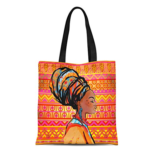 Semtomn Canvas Tote Bag Shoulder Bags Black American Portrait of Beautiful African Woman Earring Profile Women's Handle Shoulder Tote Shopper Handbag ()