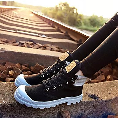 Zapatillas deportivas mujer primavera otoño PU Confort exterior talón plano Flor negra/azul/rojo negroNegro/Blanco ejecutando Black