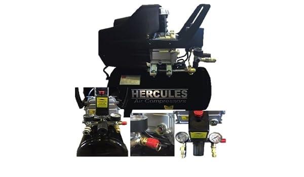 Compresor Hercules 24 LT 2 HP 8 bar 1500 W lubrificato Aceite 2 manometri: Amazon.es: Bricolaje y herramientas