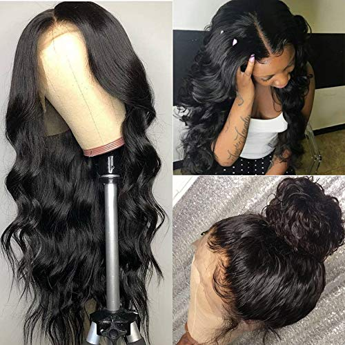 ISEE Hair 150% Density Brazilian Body Wave Lace Front Wig Glueless Lace Front Human Hair Wigs For Women Black Pre Plucked Unprocessed 8A Virgin Brazilian Hair Wig(18'' Natural Color)