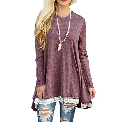 Black Humor Ringer - Clearance Sale! Seaintheson 2018 Fashion Womens Ladies Casual Lace Long Sleeve Crop Shirt Pullover Tops Blouse