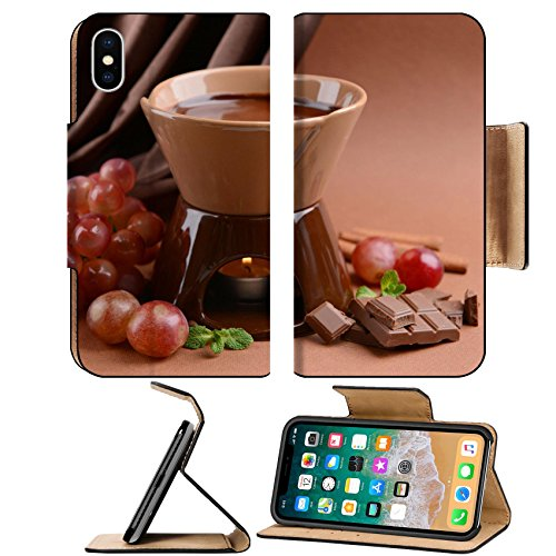 Luxlady Premium Apple iPhone X Flip Pu Leather Wallet Case IMAGE ID 25128503 Chocolate fondue with fruits on brown background