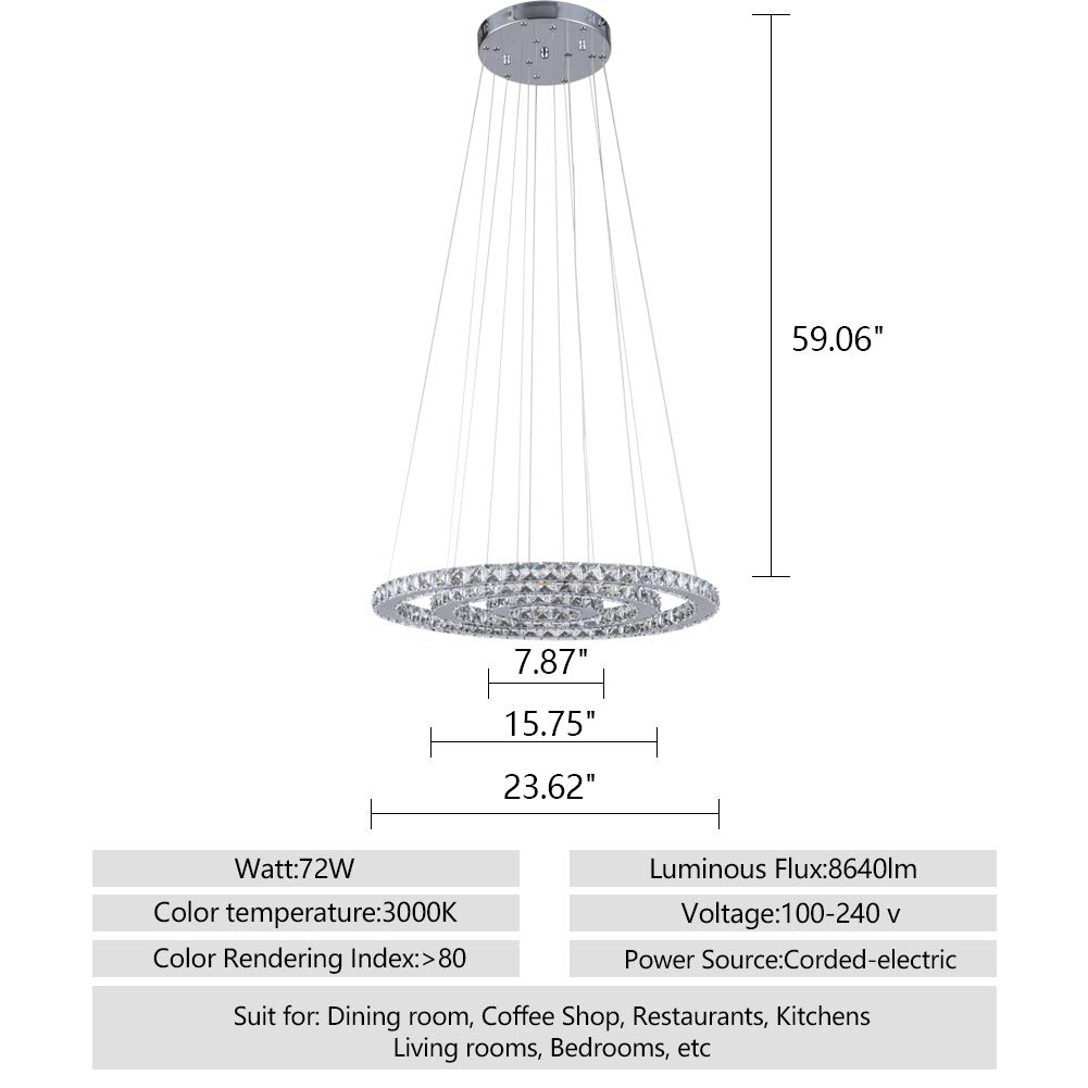 KAI Crystal Chandelier Island Pendant Light Contemporary Not Dimmable LED Lamp with Adjustable Height 3 Rings 3000K 8640LM Chrome Modern Flush Mount Ceiling ...