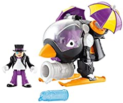 Who says penguins can't fly? This crazy bird is flying over Gotham City in The Penguin Copter, powered by umbrellas (of course)! Just pull the trigger to see them spin! What kind of evil plan is he hatching? That's up to young crime fighters'...