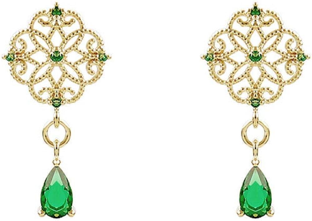 Aretes colgantes para mujer en plata de ley larga Pendientes vintage de temperamento de gota de cristal esmeralda Regalo elegante y delicado SDHJMT