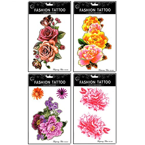 Hot selling and fashionable 4pcs different colorful roses and peony long lasting and realistic temp tattoo stickers designs in 1 package
