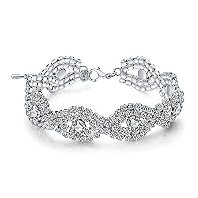Paxuan Womens Silver Plated White Clear Rhinestone Crystal Wedding Bridal Bridesmaid Bracelet Jewelry Link Tennis Bracelet