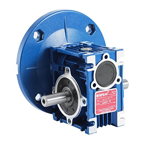 OrangeA Worm Gear Reducer RV30 with Double Shaft Speed Reducer Flange 56C Speed Reducer Gearbox Ratio 15:1 for Various Mechanical Equipment