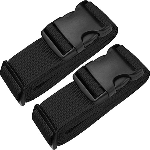 TRANVERS Luggage Straps For Suitcases Baggage Belt Heavy Duty Adjustable 2-Pack Black ()