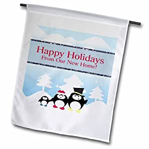 "3dRose fl_167335_2 ""Penguin Family on A Winters Day, Happy Holidays, New Home"" Garden Flag, 18 x 27"""