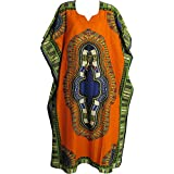 Yoga Trendz Indian Cotton Ethnic Border Print Dashiki Bohemian Long Caftan/Kaftan (No7 Orange)