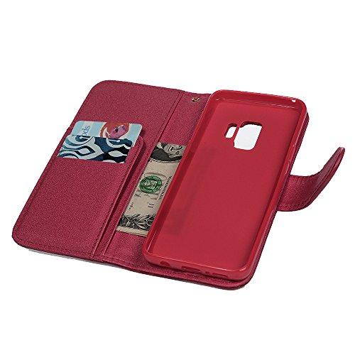 Samsung Galaxy S9Case, Premium PU Leder Folio Flip Wallet Case Rose geprägt mit Magnetverschluss ID Kreditkarte Slots Halter Displayschutzfolie Shell Bumper Schutzhülle für Samsung Galaxy S9 rot rot
