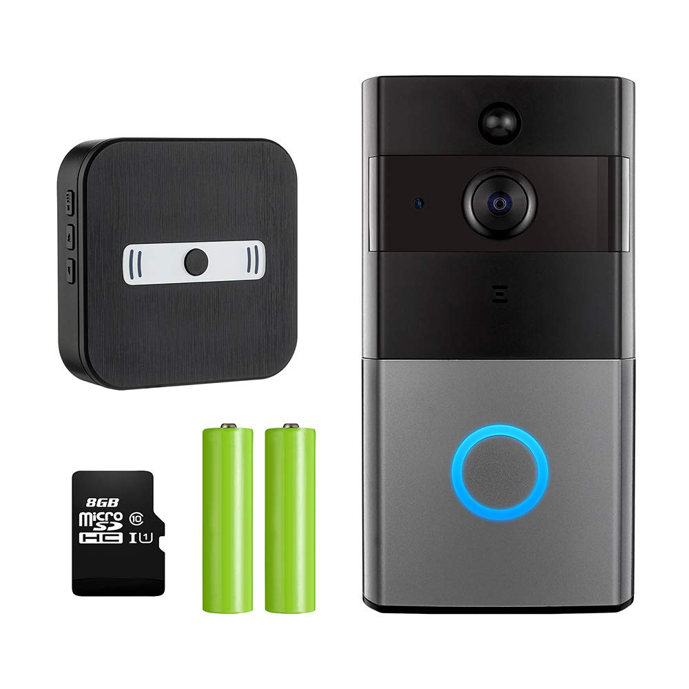 Wireless Wifi Video Doorbell + Indoor Chime, Mbangde Smart Doorbell 720P Security Camera with 8G Memory Storage, Battery Powered, Real-Time Two-Way Talk, Night Vision, Motion Detection for IOS Android