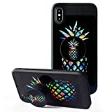 iPhone X Case, Pineapple Case with Pop up Kickstand and Grip [Shockproof +Anti-Scratch] Fashion Soft TPU Bumper and Holder Stand Black Cover Case for iPhone X -Classical Pineapple