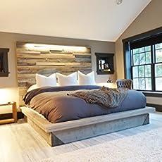 modern industrial platform bed reclaimed wood scrap art headboard