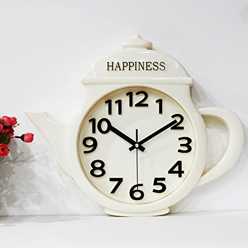 Quiet living room bedroom children's room wall clock watch cartoon House teapot solid creative modern wall quartz clock,White teapot