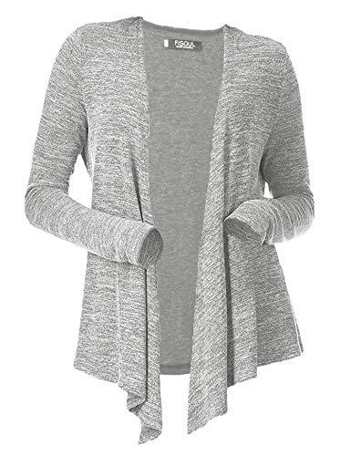 FISOUL Women's Cardigans Open Drape Front Coats Long Sleeve Lightweight Knit Jackets Gray L by FISOUL