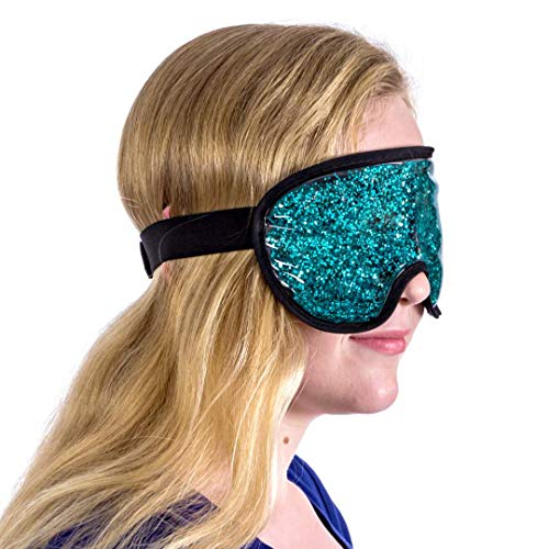 Therapeutic Under Eye Facial Mask (Gel Infused) Hot and Cold Skin Therapy | Relieve Sinus Pressure, Headaches, Migraines | Diminish Dark Circles, Puffy Bags | Reusable (Aquamarine ()
