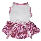 Petitebella Dog Dress Plain White Cotton Shirt Pink Sequins Tutu (Small)